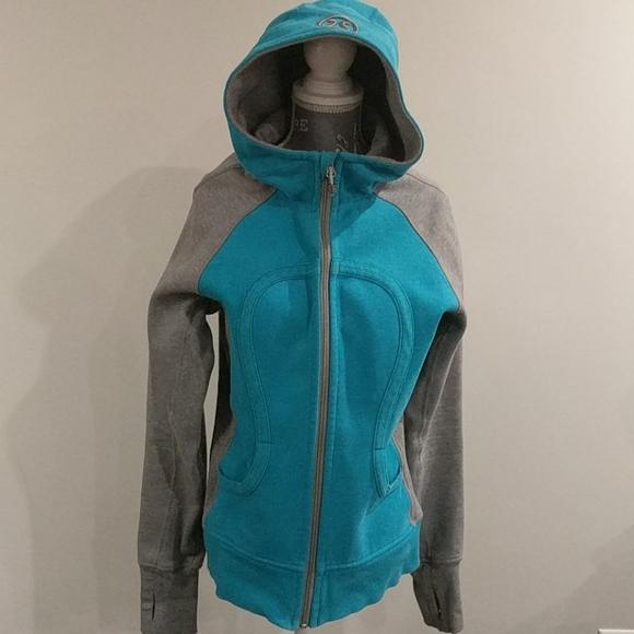 LULULEMON ocean Blue and Gray scuba hoodie